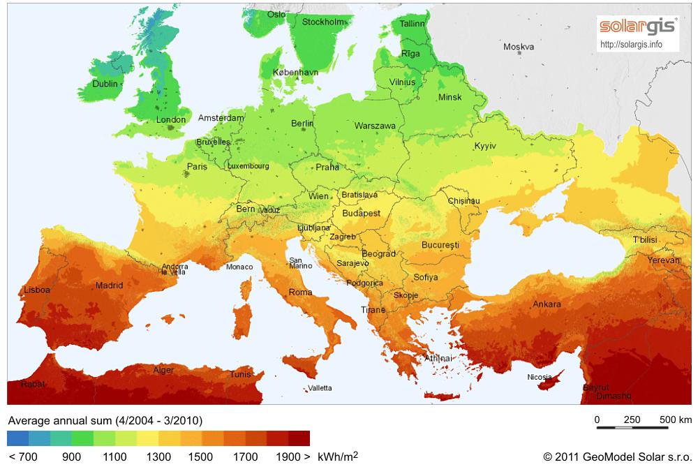 napelem termelési potenciál EU